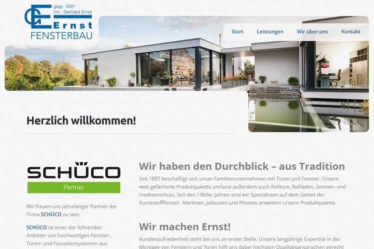 Screenshot der Webseite: G. Ernst Fensterbau