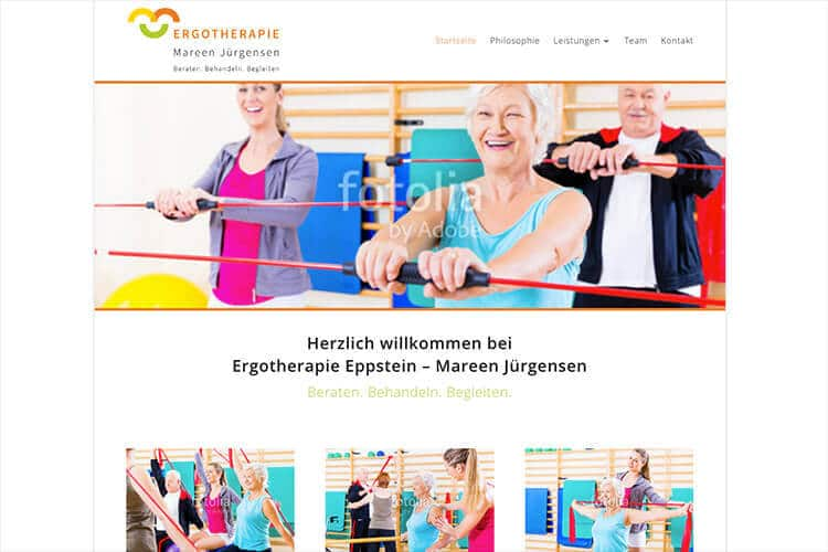 Screenshot der Webseite: Ergotherapie Mareen Jürgensen
