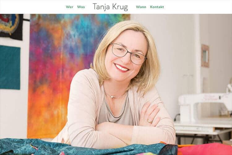 Screenshot der Webseite: Tanja Krug Textilkunst