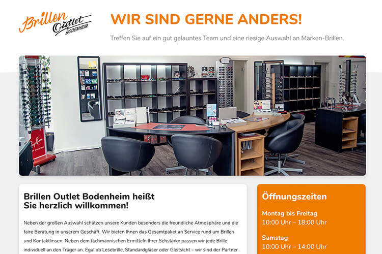 Screenshot der Webseite: Brillen Outlet Bodenheim