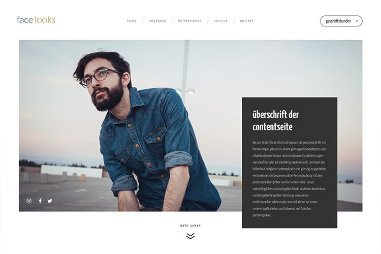 Screenshot der Webseite: face looks - meisterhafte optiker