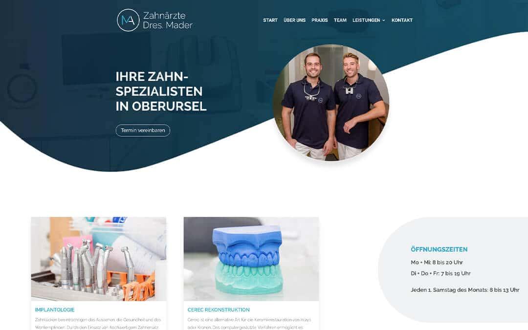 Neue Webseite: Zahnärzte Dres. Mader aus Oberursel